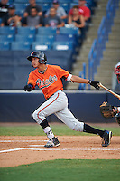 Third baseman Oscar Serratos (2) of Grayson High School in Lawrenceville, Georgia playing for the Baltimore Orioles scout team during the East Coast Pro Showcase on August 3, 2016 at George M. Steinbrenner Field in Tampa, Florida.  (Mike Janes/Four Seam Images)