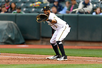 Sherman Johnson (3) of the Salt Lake Bees on defense against the Sacramento River Cats in Pacific Coast League action at Smith's Ballpark on April 11, 2017 in Salt Lake City, Utah. The River Cats defeated the Bees 8-7. (Stephen Smith/Four Seam Images)
