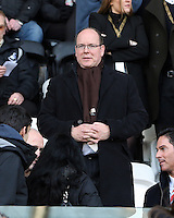 SWANSEA, WALES - FEBRUARY 07: Prince Albert of Monaco is watching the game from the stand during the Premier League match between Swansea City and Sunderland AFC at Liberty Stadium on February 7, 2015 in Swansea, Wales.