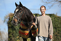 Pictured: Paul Sheldrake with Ellerslie Tom in Clarbeston, Pembrokeshire, Wales, UK. Thursday 09 March 2017<br /> Re: Former race horse Ellerslie Tom that has been re-united with Paul Sheldrake, 45, after neighbour and friend Kay Sinclair-James, found him for sale.