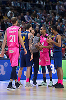 Estudiantes Sylven Landesberg and FC Barcelona Lassa Adrien Moerman during Liga Endesa match between Estudiantes and FC Barcelona Lassa at Wizink Center in Madrid, Spain. October 22, 2017. (ALTERPHOTOS/Borja B.Hojas) /NortePhoto.com