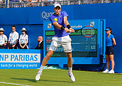 June 19th 2017, Queens Club, West Kensington, London; Aegon Tennis Championships, Day 1; Kyle Edmund (GBR) hits a backhand during his 1st round singles match against Denis Shapovalov (CAN)