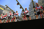 Lotto-Soudal on stage at the team presentation in Antwerp before the start of the 2019 Ronde Van Vlaanderen 270km from Antwerp to Oudenaarde, Belgium. 7th April 2019.<br /> Picture: Eoin Clarke | Cyclefile<br /> <br /> All photos usage must carry mandatory copyright credit (&copy; Cyclefile | Eoin Clarke)