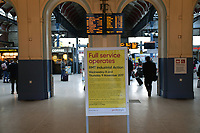 Full service operates sign at Norwich Station during RMT industrial action 9 November 2017. Greater Anglia RMT guards on strike over driver only trains, along with Southern & South Western Railways. UK