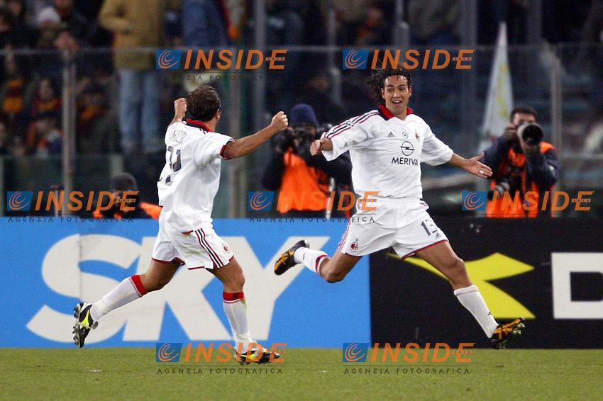 Roma 22/1/2004<br /> ROMA MILAN 1-2 COPPA ITALIA<br /> Alessandro Nesta celebrates his goal of 1-0 with Cristian Brocchi (Milan) <br /> Foto Andrea Staccioli Insidefoto
