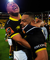 Sitiveni Paongo (left) and Tolu Fahamokoia celebrate winning the Mitre 10 Cup Championship final match between Wellington Lions and Northland Taniwha at Westpac Stadium in Wellington, New Zealand on Friday, 27 October 2017. Photo: Dave Lintott / lintottphoto.co.nz