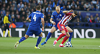 Atletico Madrid's Yannick Ferreira Carrasco holds off the challenge from Leicester City's Yohan Benalouane<br /> <br /> Photographer Stephen White/CameraSport<br /> <br /> UEFA Champions League Quarter Final Second Leg - Leicester City v Atletico Madrid - Tuesday 18th April 2017 - King Power Stadium - Leicester <br />  <br /> World Copyright &copy; 2017 CameraSport. All rights reserved. 43 Linden Ave. Countesthorpe. Leicester. England. LE8 5PG - Tel: +44 (0) 116 277 4147 - admin@camerasport.com - www.camerasport.com