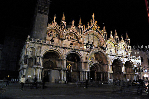 Venice, Italy - March 17, 2009 -- Night view of St. Mark's Basilica in the Piazza San Marco (St. Mark's Square) on Tuesday, March 17, 2009..Credit: Ron Sachs / CNP