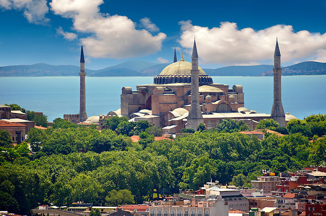 The exterior of the 6th century Byzantine (Eastern Roman) Hagia Sophia ( Ayasofya ) built by Emperor Justinian. The size of the dome was un-surpassed until the 16th century, Istanbul, Turkey