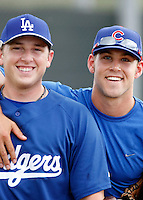 Blake Smith / Brett Jackson ---  AZL Dodgers / AZL Cubs - 2009 Arizona League.Photo by:  Bill Mitchell/Four Seam Images..Former California Golden Bears teammates Blake Smith and Brett Jackson are reunited prior to an Arizona League game between the Dodgers and Cubs at Fitch Park, Mesa, AZ - 07/03/2009