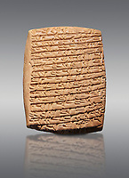 Hittite cuneiform tablet. Adana Archaeology Museum, Turkey. Against a grey background