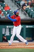 Buffalo Bisons right fielder Dalton Pompey (24) at bat during a game against the Scranton/Wilkes-Barre RailRiders on May 18, 2018 at Coca-Cola Field in Buffalo, New York.  Buffalo defeated Scranton/Wilkes-Barre 5-1.  (Mike Janes/Four Seam Images)