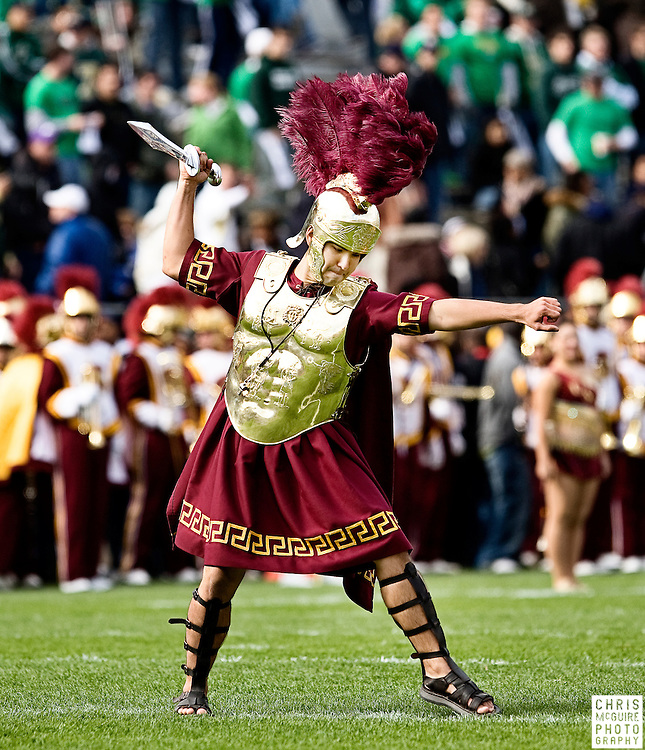 10/17/09 - South Bend, IN:  The USC Trojan Marching Band drum major stabs the field before USC's game against Notre Dame at Notre Dame Stadium on Saturday.  USC won the game 34-27 to extend its win streak over Notre Dame to 8 games.  Photo by Christopher McGuire.