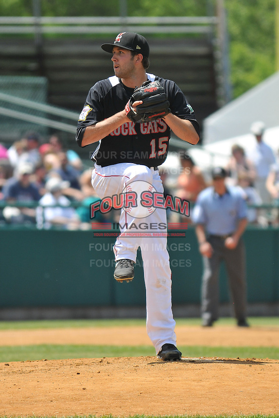Pat Dean (15) of the New Britain Rock Cats delivers a pitch during a game against the Binghamton Mets at New Britain Stadium on June 1, 2014 in New Britain, Connecticut.  New Britain defeated Binghamton 6-1.  (Gregory Vasil/Four Seam Images)