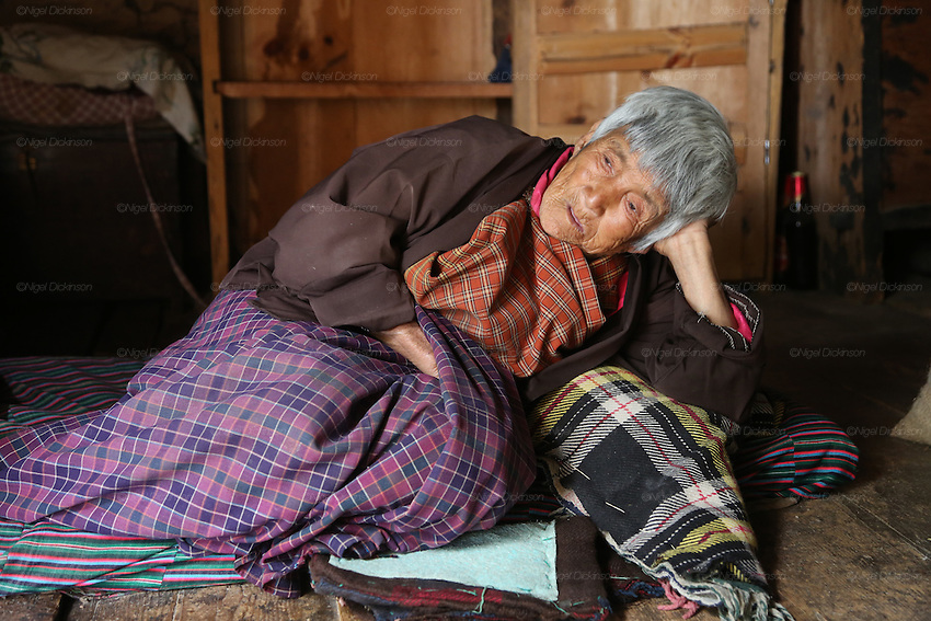 An old almost blind grandmother wiles away the time, farmhouse, Bumthang, Bhutan..Bhutan the country that prides itself on the development of 'Gross National Happiness' rather than GNP. This attitude pervades education, government, proclamations by royalty and politicians alike, and in the daily life of Bhutanese people. Strong adherence and respect for a royal family and Buddhism, mean the people generally follow what they are told and taught. There are of course contradictions between the modern and tradional world more often seen in urban rather than rural contexts. Phallic images of huge penises adorn the traditional homes, surrounded by animal spirits; Gross National Penis. Slow development, and fending off the modern world, television only introduced ten years ago, the lack of intrusive tourism, as tourists need to pay a daily minimum entry of $250, ecotourism for the rich, leaves a relatively unworldly populace, but with very high literacy, good health service and payments to peasants to not kill wild animals, or misuse forest, enables sustainable development and protects the country's natural heritage. Whilst various hydro-electric schemes, cash crops including apples, pull in import revenue, and Bhutan is helped with aid from the international community. Its population is only a meagre 700,000. Indian and Nepalese workers carry out the menial road and construction work.