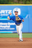 Dunedin Blue Jays second baseman Cavan Biggio (4) throws to first base for the out during a game against the Bradenton Marauders on July 17, 2017 at Florida Auto Exchange Stadium in Dunedin, Florida.  Bradenton defeated Dunedin 7-5.  (Mike Janes/Four Seam Images)