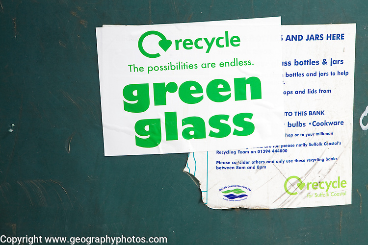Green glass recycling container label