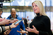 Florida Attorney General Pam Bondi talks with reporters in the lobby of Trump Tower following a meeting with President-elect Donald Trump in New York, New York, USA, 02 December 2016.<br /> Credit: Justin Lane / Pool via CNP