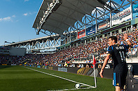Sebastien Le Toux (11) of the Philadelphia Union gets set for a corner kick. Toronto FC and the Philadelphia Union played to a 1-1 tie during a Major League Soccer (MLS) match at PPL Park in Chester, PA, on April13, 2013.