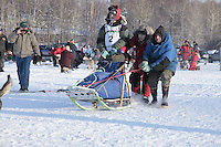 Saturday February 25, 2012   at Knik Lake during the Junior Iditarod start.  Ben Harper.