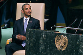 United States President Barack Obama prepares to addresses the 70th annual United Nations General Assembly at the UN headquarters September 28, 2015 in New York City. Obama will hold bilateral meetings with Indian Prime Minister Narendra Modi and Russian President Vladimir Putin later in the day. <br /> Credit: Chip Somodevilla / Pool via CNP