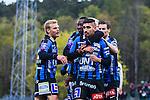 Uppsala 2014-05-07 Fotboll Superettan IK Sirius - &Ouml;stersunds FK :  <br /> Sirius Stefan Silva har gjort 1-0 p&aring; straff  den f&ouml;rsta halvleken och gratuleras av Sirius Johan Arneng , Sirius Moses Ogbu med lagkamrater<br /> (Foto: Kenta J&ouml;nsson) Nyckelord:  Superettan Sirius IKS &Ouml;stersund &Ouml;FK jubel gl&auml;dje lycka glad happy