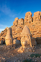 Image of the statues of around the tomb of Commagene King Antochus 1 on the top of Mount Nemrut, Turkey. Stock photos & Photo art prints. In 62 BC, King Antiochus I Theos of Commagene built on the mountain top a tomb-sanctuary flanked by huge statues (8–9 m/26–30 ft high) of himself, two lions, two eagles and various Greek, Armenian, and Iranian gods. The photos show the broken statues on the  2,134 m (7,001 ft)  mountain. 3