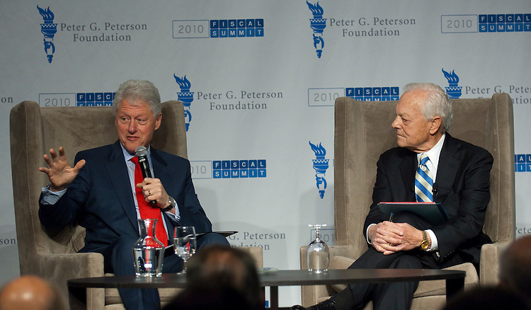 "WASHINGTON, DC - April 28: Former President Bill Clinton with ""Face the Nation"" host Bob Schieffer during the 2010 Fiscal Summit sponsored by the Peter G. Peterson Foundation. (Photo by Scott J. Ferrell/Congressional Quarterly)"