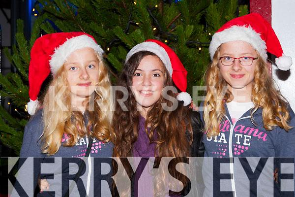 Julia Klorek, Laura Lovasek and Kasla Klorek at the Kenmare Christmas celebrations on Saturday night