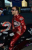 Oct. 28, 2012; Las Vegas, NV, USA: NHRA pro stock motorcycle rider Matt Smith runner-up at the Big O Tires Nationals at The Strip in Las Vegas. Mandatory Credit: Mark J. Rebilas-