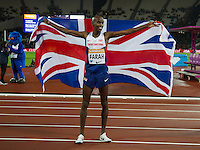 Mo Farah of GBR (Men's 3000m) celebrates his victory during the Sainsburys Anniversary Games Athletics Event at the Olympic Park, London, England on 24 July 2015. Photo by Andy Rowland.