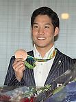 Yuki Kobori, August 17, 2016, Tokyo, Japan : Rio 2016 Summer Olympic Games men's 4x200m Freestyle Relay bronze medallist Yuki Kobori arrives at Tokyo International Airport in Tokyo, Japan, on August 17, 2016. (Photo by AFLO)