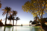 MAURITIUS, Chemin Grenier, South Coast, the pool at Hotel Shanti Maurice at dusk