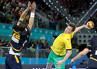 Spain's Viran Morros (l) and Australia's Tommy Fletcher during 23rd Men's Handball World Championship preliminary round match.January 15,2013. (ALTERPHOTOS/Acero) /NortePhoto