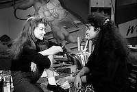 October 21, 1987 File Photo - Montreal (Qc) Canada - French singer Elli Medeiros (L) Musique Plus Interview with Sonia Benezra (R) during her  promo tour in Montreal.<br /> <br /> Elli Medeiros (b. 18 January 1956 in Montevideo, Uruguay) is a singer and actress. Medeiros moved to Paris, France, at the age of 14, dropped out of high school a couple of years later and joined the punk band The Stinky Toys.<br /> <br /> The singer went solo in 1986. The songs Toi Mon Toit and A Bailar Calypso were big hits in France and had a more Latin sound than her previous records.