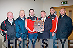 Glenbeigh/Glencar GAA club were presented with their division 3 Chapter 23 credit union sponsored County league winners shield last Sunday evening in the Kerin's O'Rahilly's GAA clubhouse, present were l-r: Con O'Sullivan (selector), Christy Killeen (CU), Fergal Griffin (team cpt), Patrick O'Sullivan (chairman, Kerry county board), Garry McGrath (trainer) and Aidan Roche (club chairman).