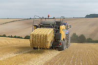Baling barley straw - Lincolnshire Wolds, july