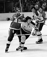 Seals vs Detroit RedWings: Tim Ecclestone and #15 Gary Pinder>(1971 photo/Ron Riesterer)
