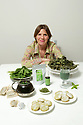 Noreen Van der Velde with her Nettle made products including biscuit, tea, smoothies, hair tonic, from fresh to dried nettles at home in County Antrim, Friday, August 9, 2019. (Photo by Paul McErlane for the Belfast Telegraph)