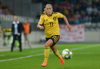 20181009 – BIEL BIENNE , SWITZERLAND : Belgian Janice Cayman pictured during the female soccer game between Switzerland and the Belgian Red Flames , the second leg in the semi finals play offs for qualification for the World Championship in France 2019 ; the first leg ended in equality 2-2 ;  Tuesday 9 th october 2018 at The Tissot Arena  in BIEL BIENNE , Switzerland . PHOTO SPORTPIX.BE | DAVID CATRY