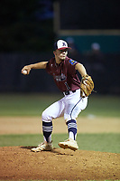 Kannapolis Post 115 pitcher Matt Moore (1) in action against Mooresville Post 66 during an American Legion baseball game at Northwest Cabarrus High School on May 30, 2019 in Concord, North Carolina. Mooresville Post 66 defeated Kannapolis Post 115 4-3. (Brian Westerholt/Four Seam Images)