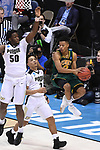 MILWAUKEE, WI - MARCH 16:  Vermont Catamounts guard Trae Bell-Haynes (2) makes a mid-air pass during the second half of the 2017 NCAA Men's Basketball Tournament held at BMO Harris Bradley Center on March 16, 2017 in Milwaukee, Wisconsin. (Photo by Jamie Schwaberow/NCAA Photos via Getty Images)