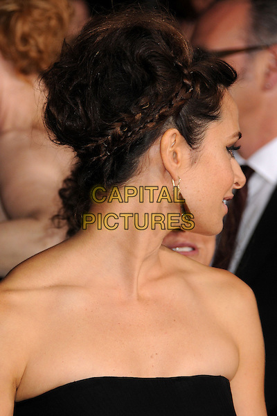 "Mia Maestro.""The Twilight Saga: Breaking Dawn - Part 2"" Los Angeles Premiere held at Nokia Theatre L.A. Live, Los Angeles, California, USA..November 12th, 2012.headshot portrait braid plait hair up profile black strapless  .CAP/ADM/BP.©Byron Purvis/AdMedia/Capital Pictures."