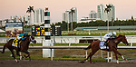 HALLANDALE BEACH, FL - March 3: Promises Fulfilled, #10, with Irad Ortiz aboard for Dale Romans takes down Strike Power and Luis Saez in the Xpressbet Fountain of Youth Stakes (Grade II) at Gulfstream on March 3, 2018 in Hallandale Beach, FL. (Photo by Carson Dennis/Eclipse Sportswire/Getty Images.)