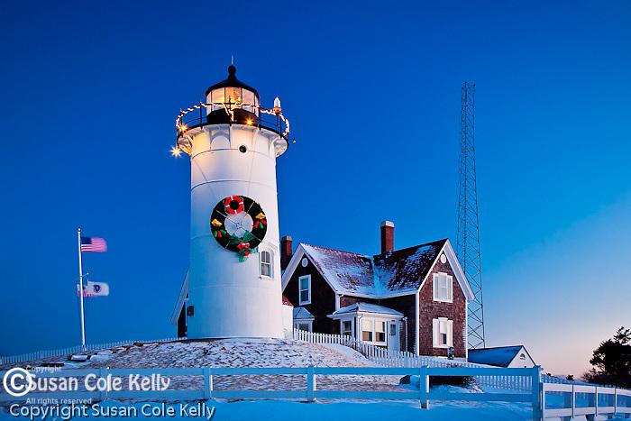 Nobska Lighthouse at sunrise, Falmouth, Cape Cod,  MA, USA