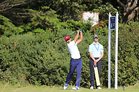 Isaiah Salinda (USA) on the 6th tee during the singles matches at the Walker Cup, Royal Liverpool Golf Club, Hoylake, Cheshire, England. 07/09/2019.<br /> Picture Fran Caffrey / Golffile.ie<br /> <br /> All photo usage must carry mandatory copyright credit (© Golffile | Fran Caffrey)