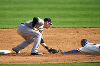 Trenton Thunder second baseman Billy Fleming (15) tags out Jan Vazquez (6) attempting to steal second during the first game of a doubleheader against the Hartford Yard Goats on June 1, 2016 at Sen. Thomas J. Dodd Memorial Stadium in Norwich, Connecticut.  Trenton defeated Hartford 4-2.  (Mike Janes/Four Seam Images)