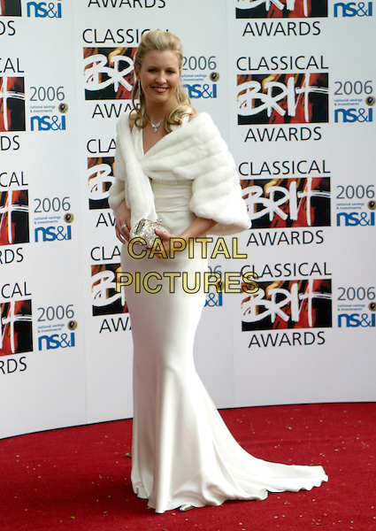ALISON BALSOM.The Classical Brit Awards 2006 at The Royal Albert Hall, London, UK..May 4th, 2006.Ref: AH.full length white dress fur wrap shawl.www.capitalpictures.com.sales@capitalpictures.com.© Capital Pictures.
