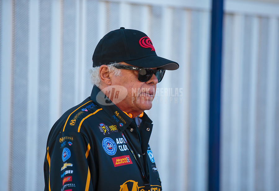 Feb 11, 2019; Pomona, CA, USA; NHRA former funny car driver Don Prudhomme during the Winternationals at Auto Club Raceway at Pomona. Mandatory Credit: Mark J. Rebilas-USA TODAY Sports