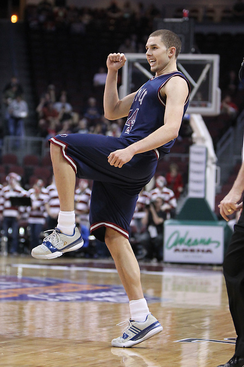 March 5, 2011; Las Vegas, NV, USA; Loyola Marymount Lions forward Drew Viney (34) reacts after a play against the Santa Clara Broncos during the WCC Basketball Championships quarterfinal game at Orleans Arena. The Broncos defeated the Lions 76-68.
